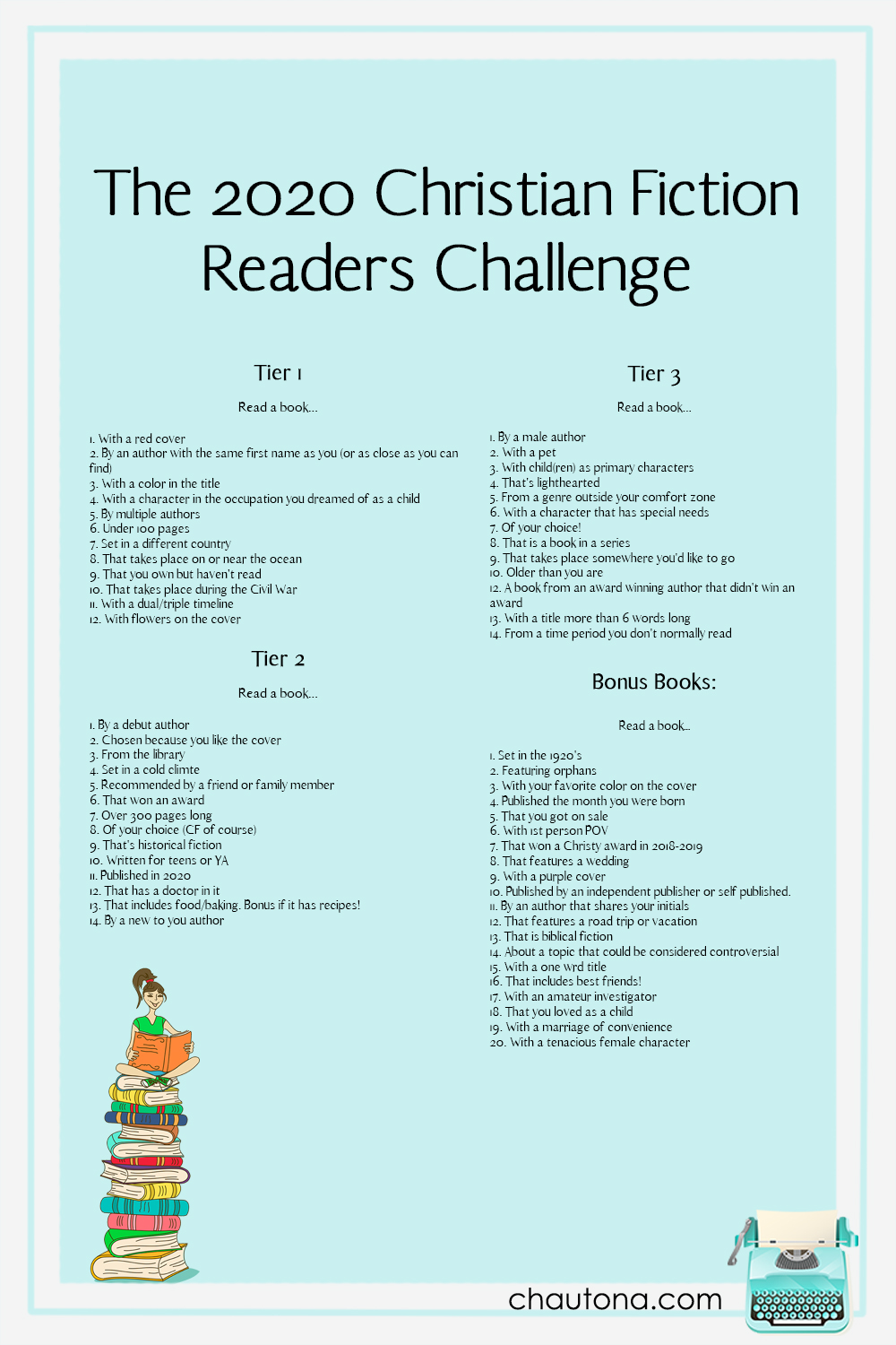 2020 Christian Fiction Reading Challenge